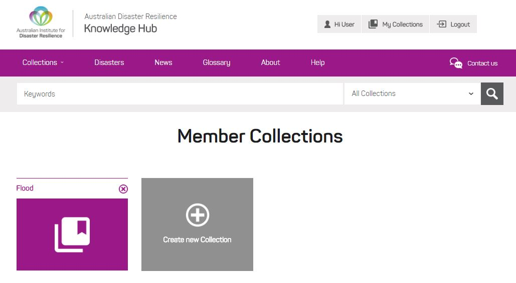 Image showing the 'My Collections' button at the top right hand side of the screen, and the personal collection folders
