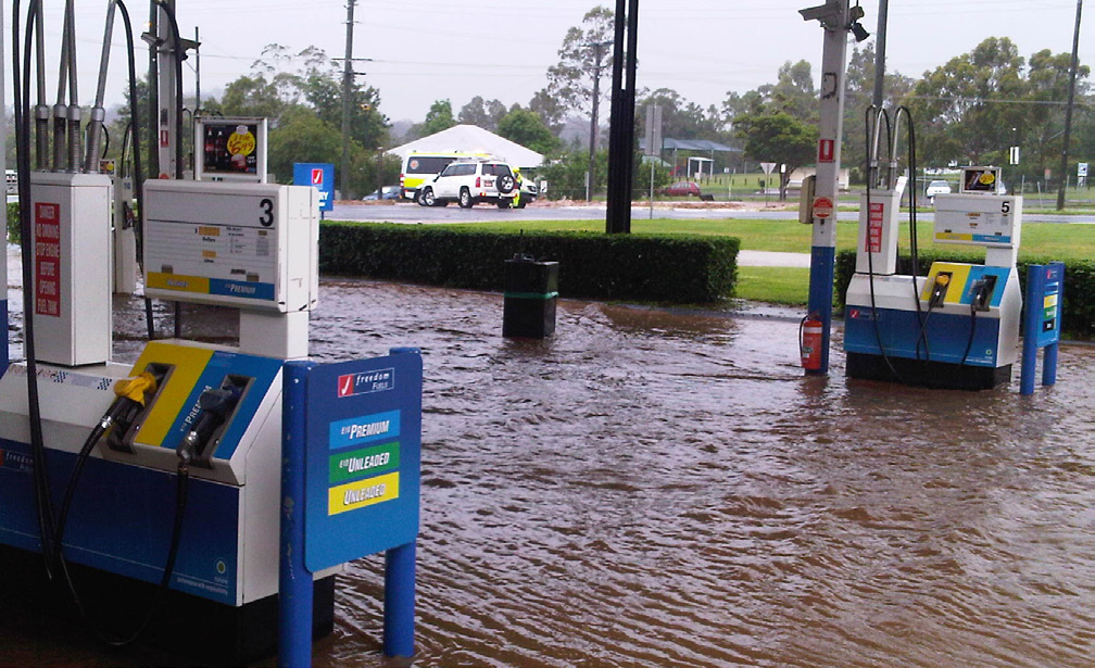 Flooding at petrol station