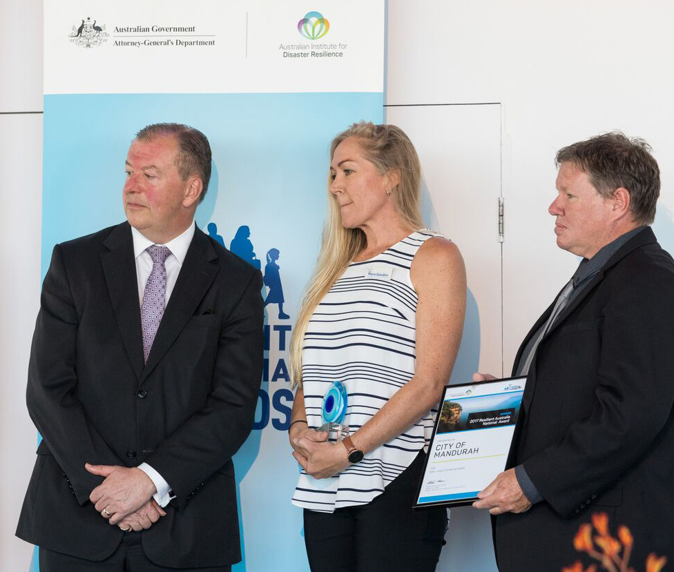 Mark Crosweller, Emergency Management Australia, Myra Giardini and Councillor Darren Lee, City of Mandurah.