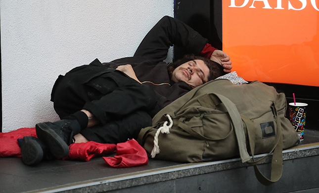 Homeless person sleeping rough