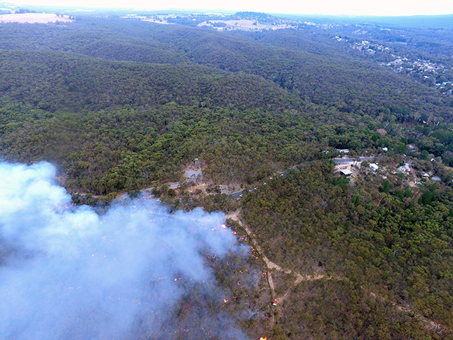 Aeriel view of interface burning in the Hepburn Regional Park