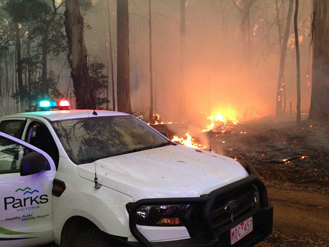 Parks Victoria vehicle near Wombat State Forest prescribed burn