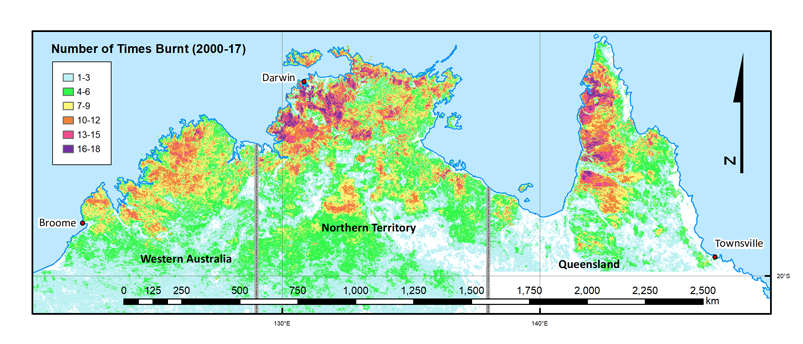 Fire frequency between 2000 and 2017 within 300 km radius of Darwin.