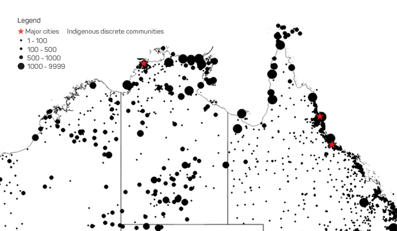 Distribution of Indigenous discrete communities across northern Australia.