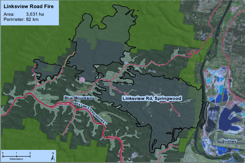 Areas affected by the fire from its point of ignition. The schools are located to the north-west of the point of ignition