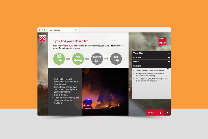 The online modules include scenarios so users can understand the information quickly. Image: Country Fire Authority Learning Hub