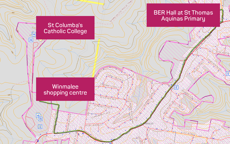 The evacuation route from St Thomas Aquinas School to Winmalee shopping mall.