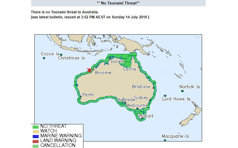 Figure 1: The Joint Australian Tsunami Warning Centre No Threat bulletin for the event. Image: Bureau of Meteorology