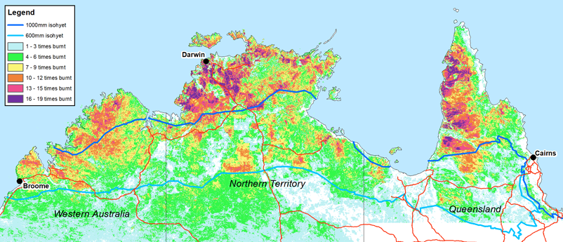 Figure 2: Average fire frequency 2000–2018 across northern Australia with 600 mm rainfall and 1000 mm rainfall isohyet regions.  Source: North Australia and Rangeland Fire Information website (www.firenorth.org.au/nafi3/)