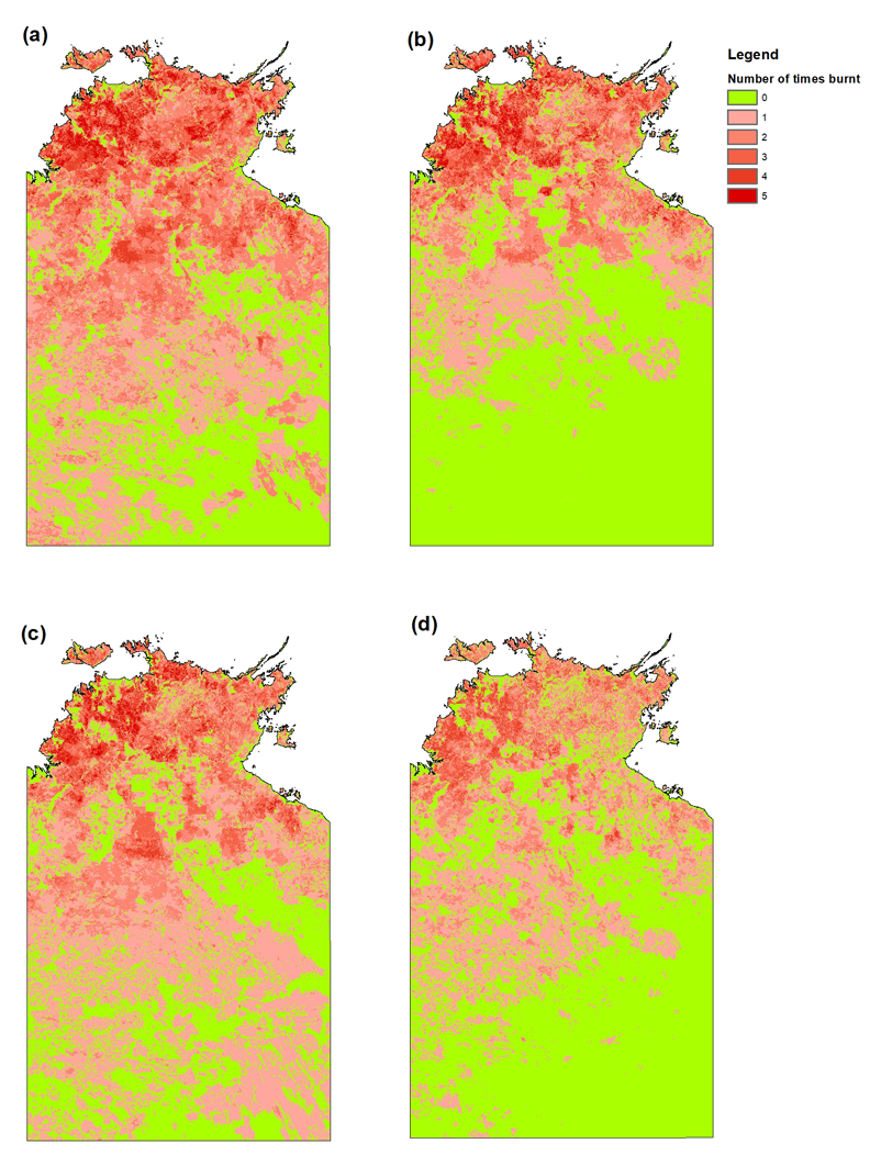 Figure 3: The average long-term (2000–2018) fire frequency across the NT for the period (a) 2000–2004, (b) 2005–2009, (c) 2010–2014 and (d) 2015–2018.