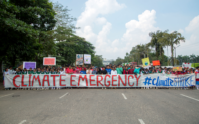In September 2019, children from around the world participated in global strikes and marches, calling for action on climate change. In Bangladesh, more than 3000 children and their supporters gathered in front of Parliament in Dhaka urging world leaders to act.  Image: Emdadul Islam Bitu, Save the Children