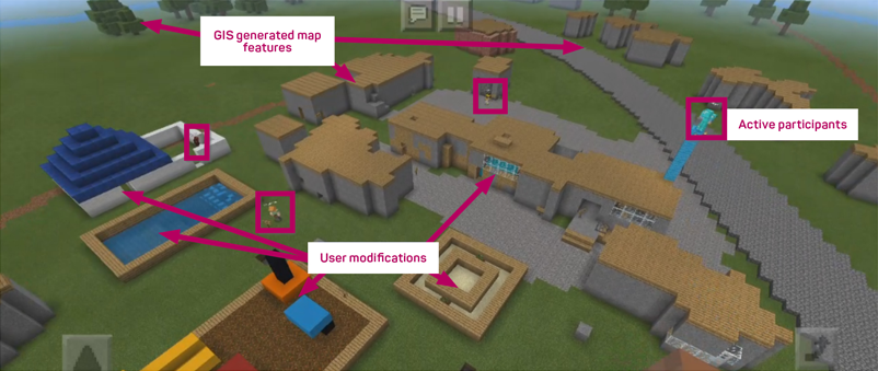 Participatory mapping using Minecraft where children built their school and surrounding area. Image: Anthony Gampell