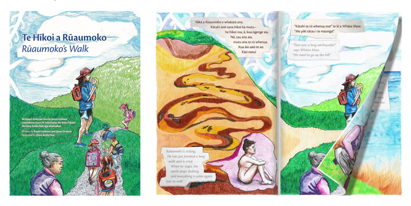 Figure 1: Te Hīkoi a Rūamoko tsunami education project materials. Image: Courtesy of East Coast LAB