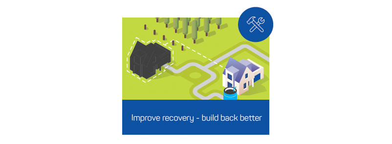 Figure 7: Property owners could reduce risk by making changes to road networks for response access, reducing exposure to hazards by relocating further from a managed vegetation area and improving resistance with provision of on-site water storage.