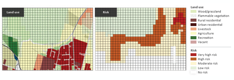 Figure 8: 2018 development layout (left-side panel) and bushfire risk (right-side panel).