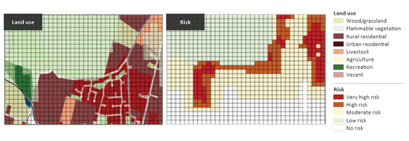 Figure 9: 2050 development layout (left-side pannel0 and bushfire risk (right-side panel). Higher levels of risk can be seen compared to the 2018 risk (Figure 8) due to the expanded residential development and its greater interaction with vegetated areas.